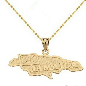 10k Yellow Gold Jamaica Map Flag Pendant Necklac
